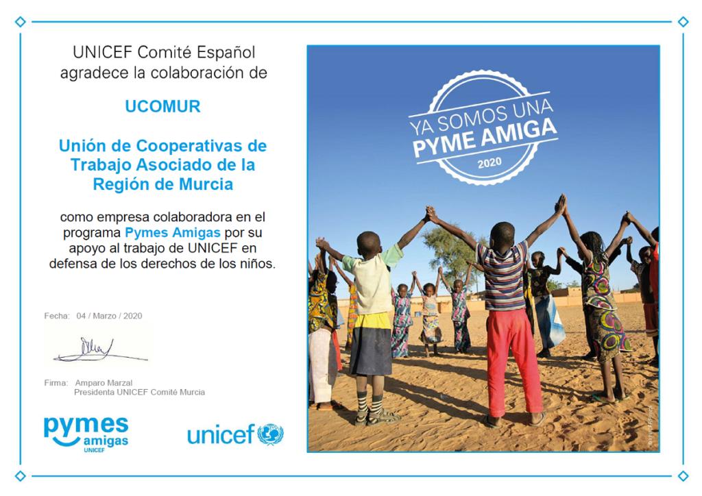 Diploma Pymes Amigas de UNICEF Comité Español