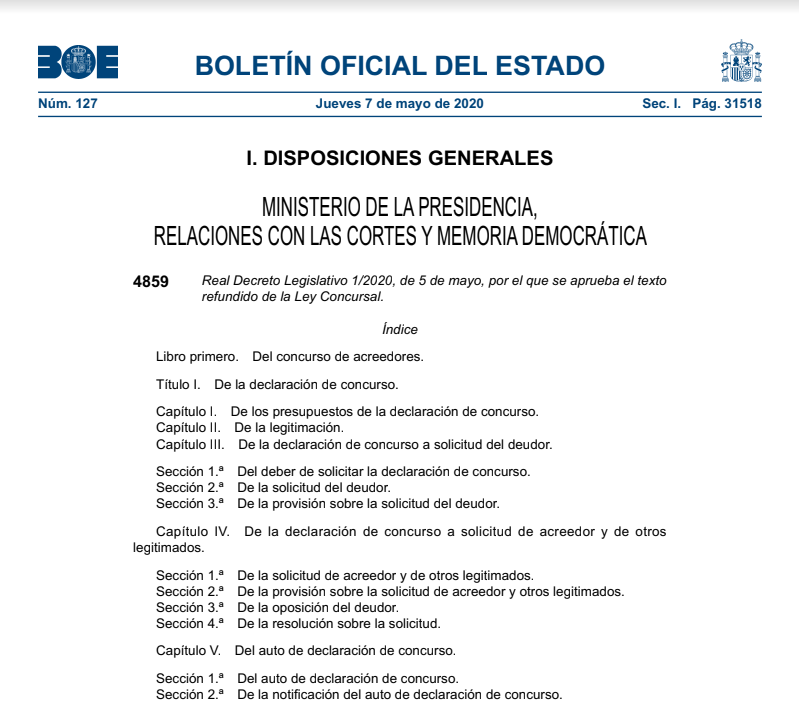 Real Decreto Legislativo 1/2020, de 5 de mayo, por el que se aprueba el texto refundido de la Ley Concursal