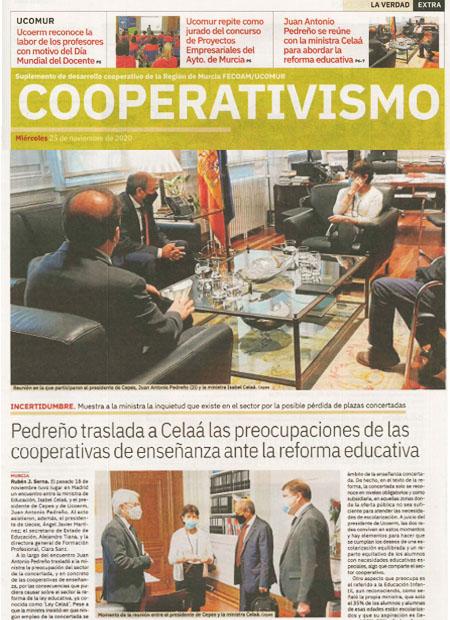 Juan Antonio Pedreño traslada a Celaá las preocupaciones de las cooperativas de enseñanza ante la reforma educativa
