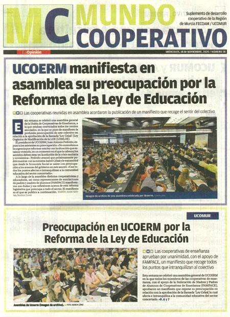 UCOERM manifiesta en asamblea su preocupación por la Reforma de la Ley de Educación